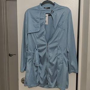 Baby Blue Front Zip Shirt Dress